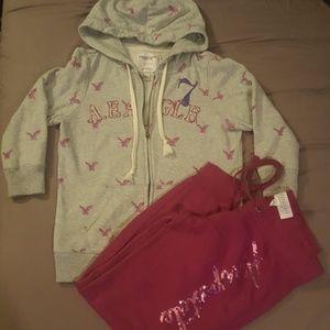Amer Eagle Zip up hoodie & Aeropostale sweatpants